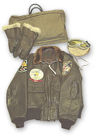 Leather items - USAAF Map Case, Gunner's Gloves, Polaroid Flight Goggles and USN G-1 Flying Jacket